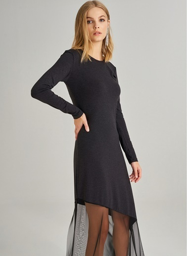 Monamoda Monamoda Eteği Tül Detaylı Örme Kadın Elbise Siyah